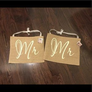 "New Lot of 2 ""Mr."" Burlap Chair Decor"